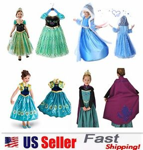 Princess Elsa Anna Role Cosplay Dress up Costume Dress for Girls Toddler 2-10 Y