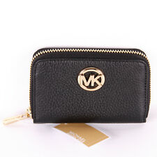 NWT Michael Kors FULTON Leather Zip Around Coin Purse Card Case Mini Wallet