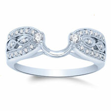 Solitaire Enhancer Diamonds Ring Guard Wrap 14k White Gold Finish Wedding Band