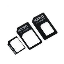 3 in 1 Nano SIM to Micro Standard SIM MICROSIM Adaptor Adapter for iPhone 5 GL