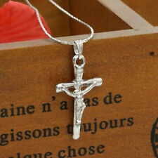 CHRISTIAN CROSS CRUCIFIX JESUS charm pendant necklace Sterling Silver female 20""