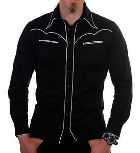 "Cowboy Shirt black size S chest upto 36"" - 92cm Rockabilly Cowboy style BANNED"