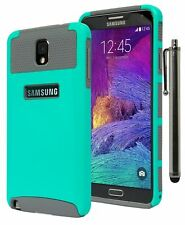 For Samsung Galaxy Note 3, Hybrid Grey Silicone Cover with Teal Case +
