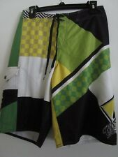 """O'Neill Board Shorts Size 30"""" White Green Yellow Black Front Snap Pocket"""
