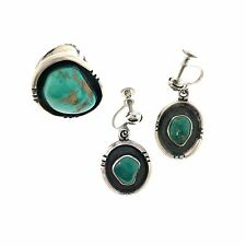 Navajo Sterling Silver Blue Gem Turquoise Earrings & Ring