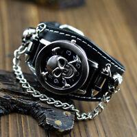 Herren Damen Schädel Totenkopf Skull Punk Gothic  Quarzuhr Armbanduhr·Zuklappbar