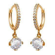Banquet Jewelry Earrings 24K Gold Filled Clear C.Z Stone Women's Hoop Earrings
