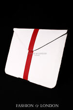 iPad Sleeve 1 2 3 4 5 AIR White Red Stripe Lambskin Genuine Leather Cover Pouch