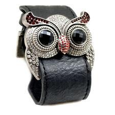 Accents Kingdom Silver Color Owl Leather Cuff Bracelet Simulated Garnet Crystal