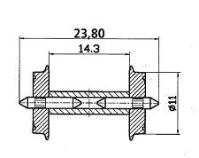 Roco 40193 Radsatz 11mm geteilte Achse 2x