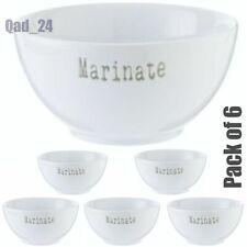 6pcs White Porcelain Marinate Bowls Kitchen Soup Breakfast Cereal Microwave Safe