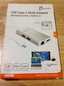 Authentic j5Create JCA374 USB 3.1 Type-C Multi-Adapter -FAST FREE SHIPPING-