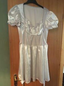 white satin sissy maids dress