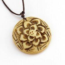 Tibet Bone Buddhist Lotus Amulet Pendant Talisman--28mm*28mm