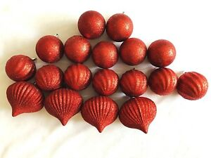Christmas Ornament Deco Decoration Assorted Glitter Red Bauble  Lot of 18