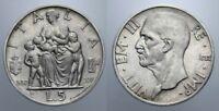 5 LIRE 1937 FECONDITA' RARA VITT. EMANUELE III REGNO D'ITALIA