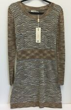 Grifflin Paris Sweater Dress Size L Brown Beige Varigated Gold Thread NWT  GG11