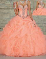 Long Beaded Quinceanera Dress V-Neck Formal Prom Party Ball Gowns Custom 2 4 6++