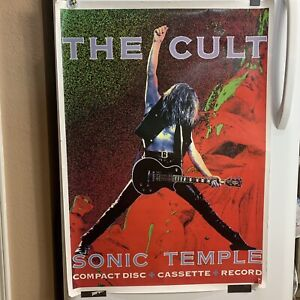 The Cult Poster Sonic Temple Compact Disc Cassette Record Promo Rock Guitar VTG