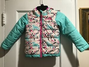 The North Face Toddler Girl Green & Fox Pattern Reversible Perrito Jacket US 3T