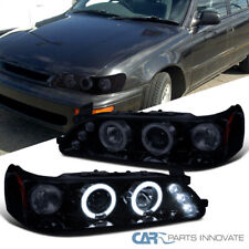 Glossy Black For Toyota 93-97 Corolla Dual Halo Projector Headlights Left+Right
