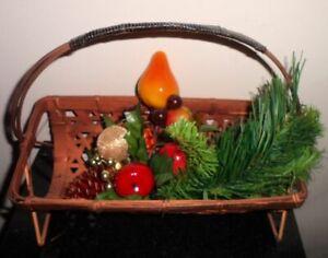 Vintage Copper Tone Wood Wicker Basket Silverware Holder 3 Silk Cedar Fruit Pick