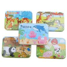 Wooden Animal Jigsaw Puzzle Educational Toy Gift+Iron Box For Infant Kids DM