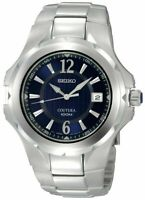 Seiko SGEE67  Men's Coutura Blue Dial Date Silver-tone Stainless Steel Watch
