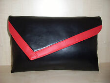 OVER SIZED RED & BLACK leatherette Clutch bag. LOVINGLY Handmade in Derbyshire