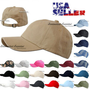 Baseball Cap Washed Cotton Hat Polo Style Adjustable Solid Plain Dad Men Hats