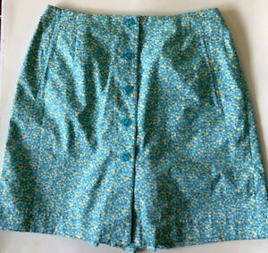 liz claiborne lizsport 8P blue yellow floral skorts skirt shorts golf sports