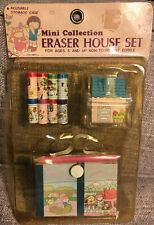 Vintage Collectible House Eraser Set in Package Like Sanrio MAGGIE & JEFF 1980s
