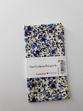 """The Ultimate Pocket Square """"Created for MACYS"""" White Floral Pattern NWT 213"""