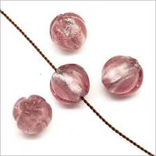 Lot de 10 Perles Rondes en Verre Lampwork Feuille d'Argent 10mm Améthyste