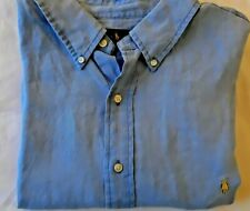 NWT Ralph Lauren BLUE LINEN Button up Short Sleeve shirt Sz 2XB