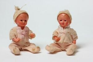 Antique Celluloid Two Baby Dolls Twins, Original Clothing, Germany