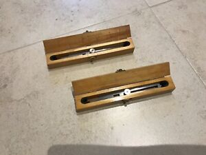 2x rare Wooden Cased Proportional Dividers calipers compass HARLING Broad arrow