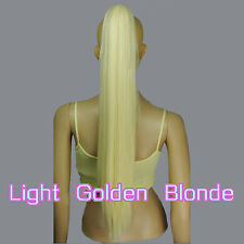 Light Golden Blonde 65cm Heat Resistant Cosplay Straight Clip-On Ponytails