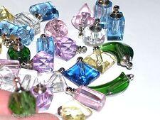 8 Huge Lot MIX necklace pendant tiny little Glass Potion fairy gem small Bottles