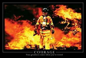 New York Art Publishing Courage, Firefighter - Poster - 24 x 36 inches