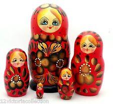 Traditional red Russian Matryoshka Hand Painted Nesting Babushka set of 5 Dolls