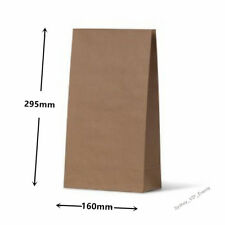 10 MEDIUM LARGE KRAFT BROWN PAPER BAGS FLAT BOTTOM LOLLY TREAT GIFT PARTY FAVOUR