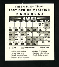San Francisco Giants--1997 Spring Training Schedule