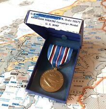 WORLD WAR II US MARINE CORPS AMERICAN CAMPAIGN MEDAL US MINT BOX USMC WW2 ZB4701