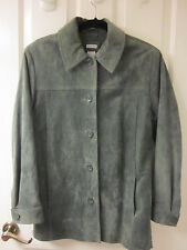 Woman's Sz S CHEROKEE Sage Green WASHABLE SUEDE LEATHER COAT JACKET BARELY WORN!