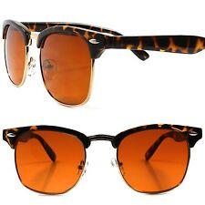 Classic Vintage Retro Style Tortoise Frame Amber Blue Blocker Driving Sunglasses