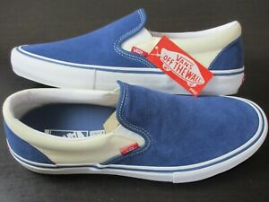 Vans Men's Slip On Pro Sty Navy Blue White  Canvas Suede Skate shoes Size 13 NIB