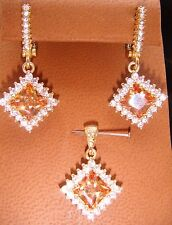 Citrine Colored Stone and White Topaz Pendant and Pierced Earring Set