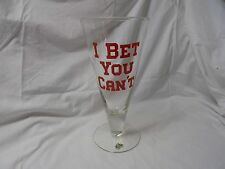"""""""I Bet You Can't"""" Drink the Whole Thing!  Huge, Vintage Footed Beer Pilsner Glas"""