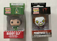 FUNKO It Pocket Pop! Keychain Pennywise with Spider Legs & Buddy Elf. Lot Of 2.